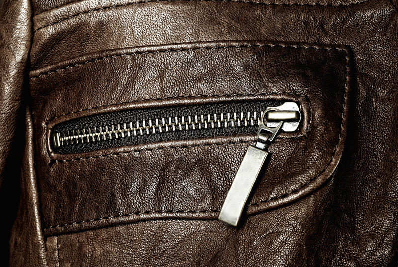 Leather jacket pocket royalty free stock photos