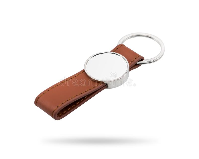 Leather key ring isolated on white background. Fashion key chain for your design. Clipping paths object. Circle shape. Leather key ring isolated on white stock images