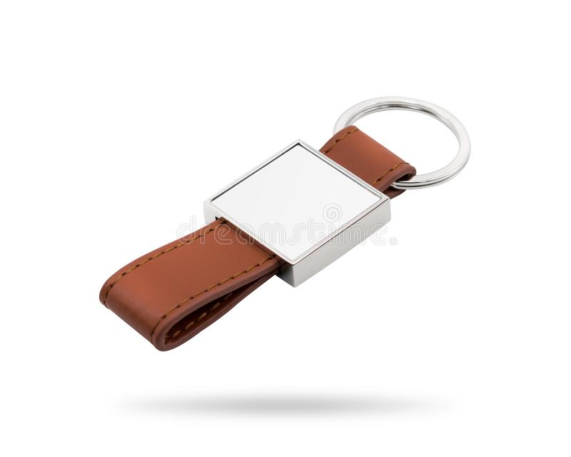 Leather key ring isolated on white background. Fashion key chain for your design. Clipping paths object. Square shape. Leather key ring isolated on white stock photo
