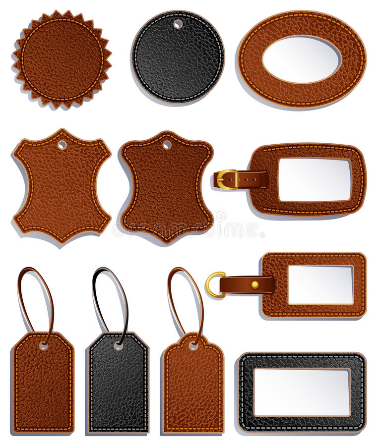 Leather labels royalty free illustration