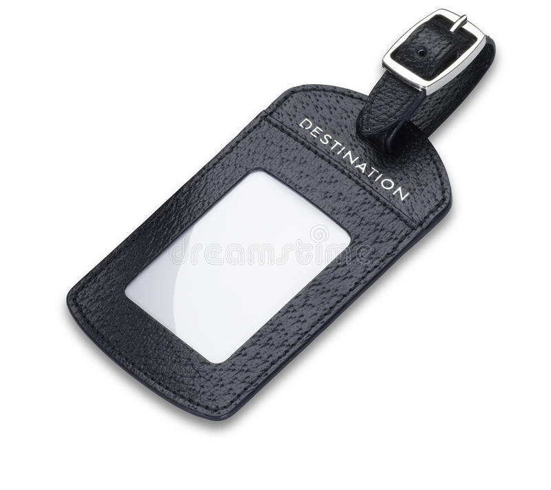 Download A Leather Luggage Tag Label Isolated With Path Stock Image - Image: 25564197