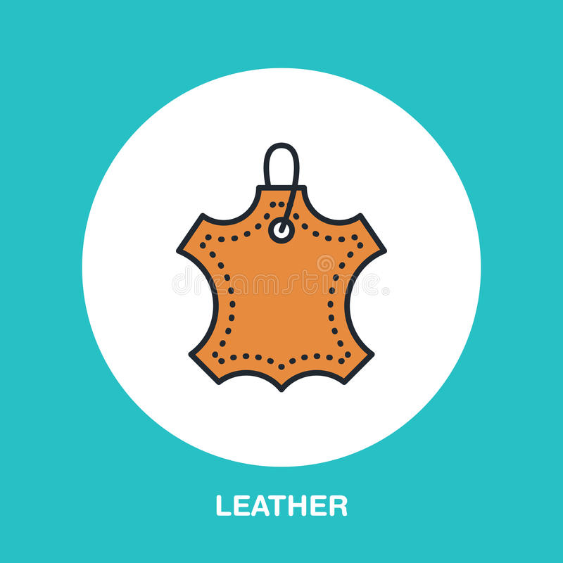 Leather material line logo. Flat sign for clothes feature. Logotype for leather garment dry cleaning, shoe repair service icon royalty free illustration
