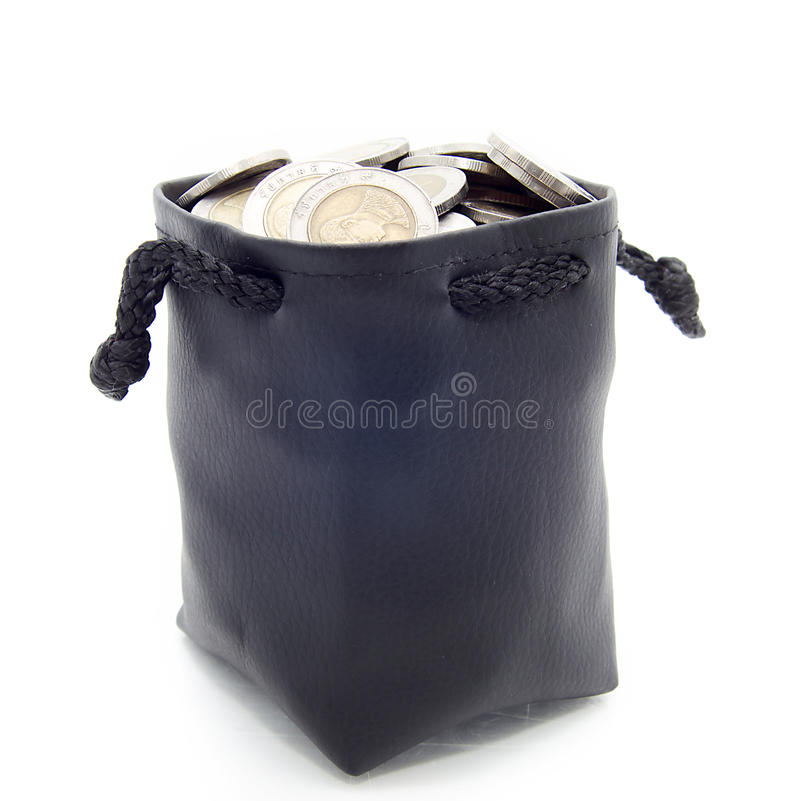 Download Leather moneybag stock image. Image of metal, coin, objects - 32849405