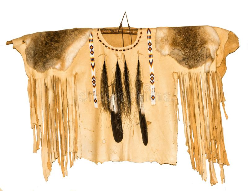 Leather Native American Shirt. With beads, feathers, rabbit pelts and fringes stock photo