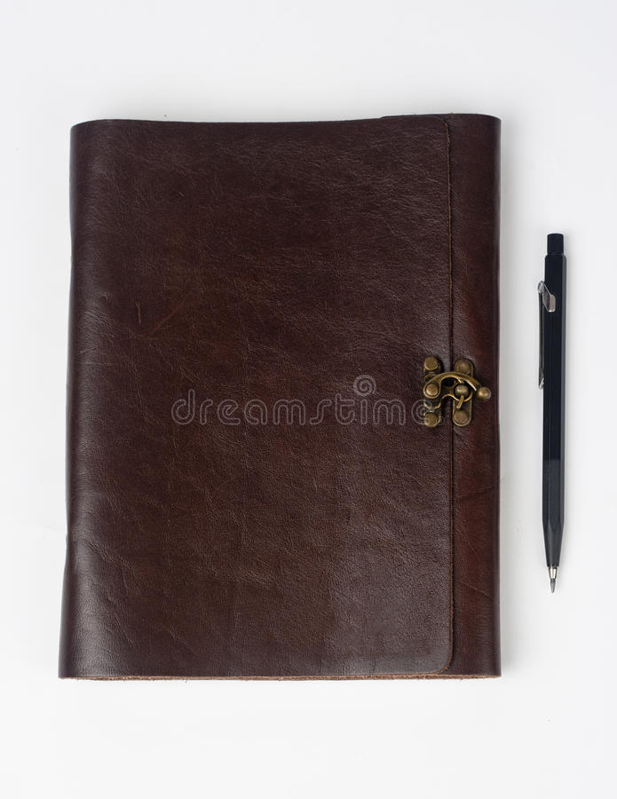 Download Leather Notepad With Drawing Pencil Stock Photo - Image: 25699892