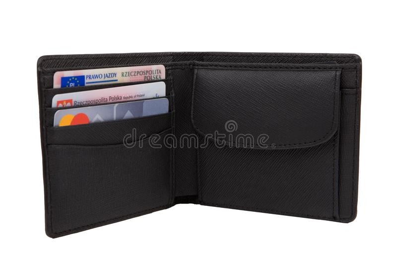 Leather open wallet with credit card, documents. Fashionable black wallet, leather stock image