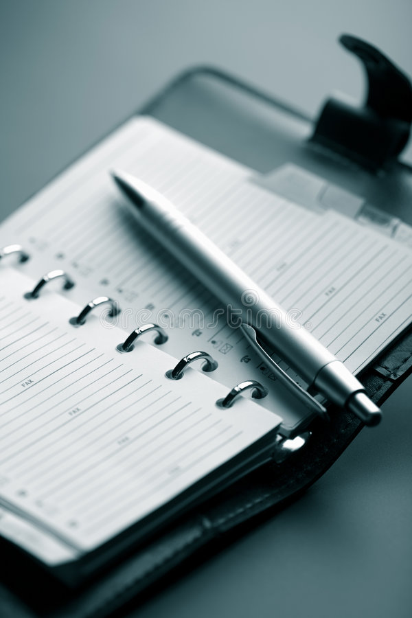 Leather organizer and pen royalty free stock image