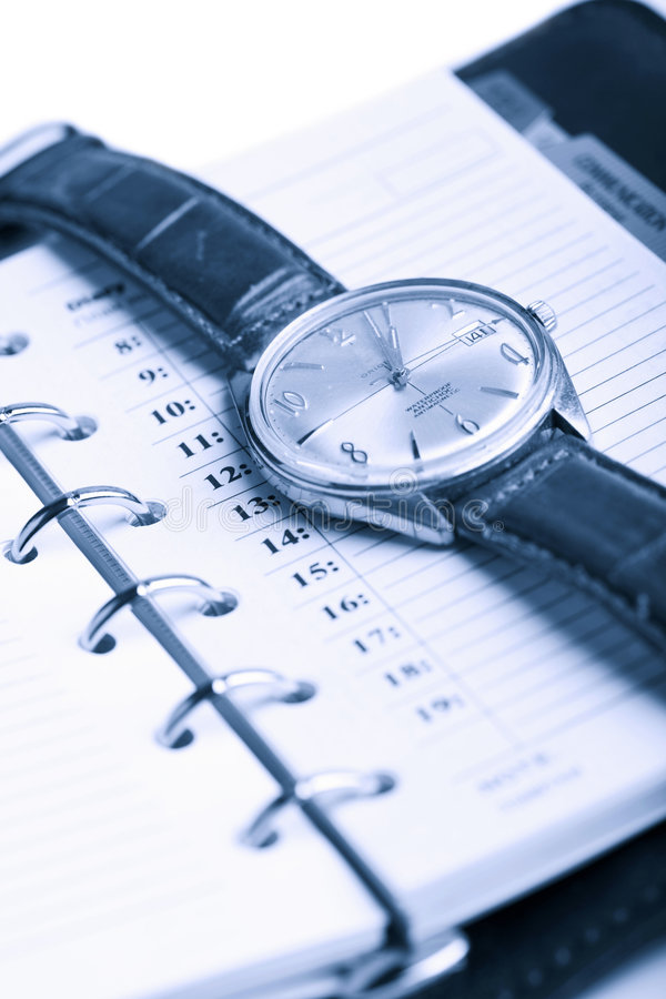 Leather organizer and watch isolated. (shallow DOF stock photography