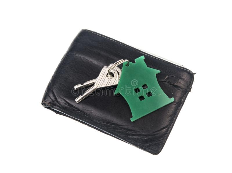 leather purse with keys from the house royalty free stock photos