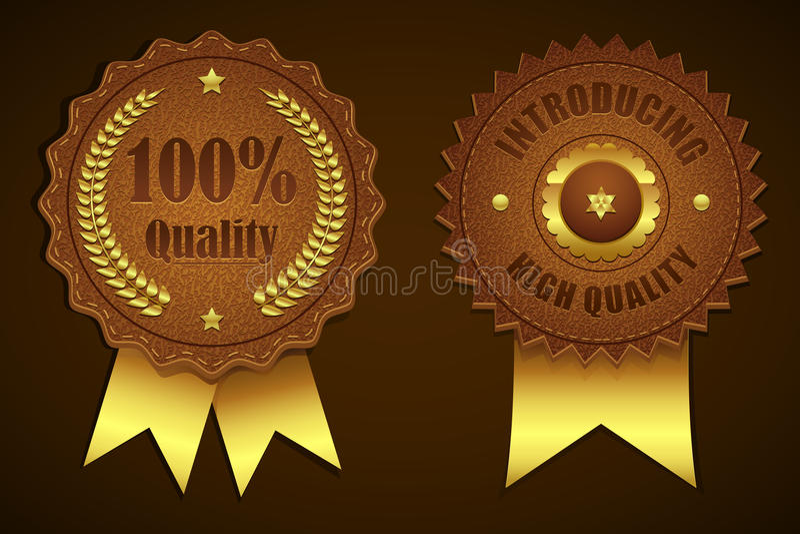 Leather Quality Badge royalty free illustration