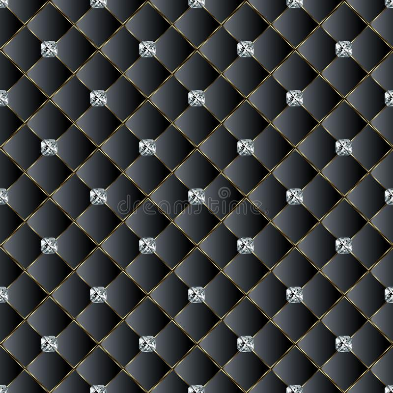 Leather quilted black 3d vector seamless pattern. Diamonds decor stock illustration