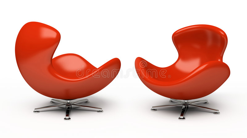 Leather red armchair vector illustration
