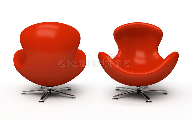 Leather Red Armchair Stock Photo