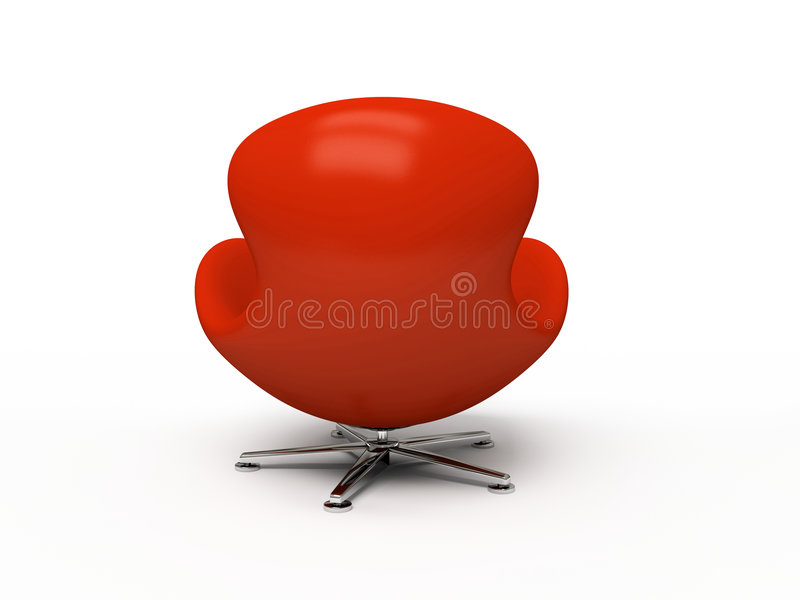 Leather red armchair (back view) stock photography