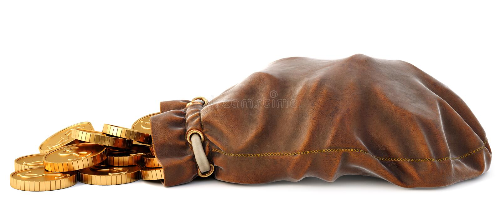 Leather sack. Gold coins fall out of a leather sack. Isolated on white background. 3D illustration vector illustration