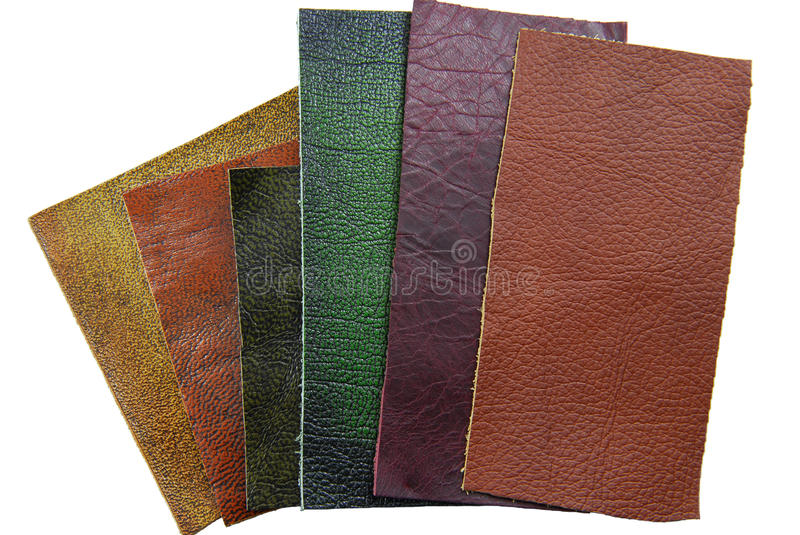 Leather samples. Choice of texture and color stock photography