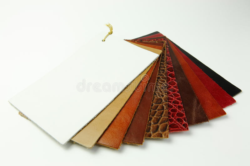Leather samples. Natural leather samples in various colors on white background royalty free stock image