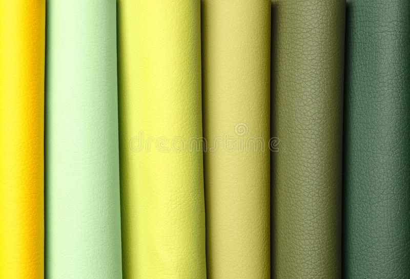 Leather samples of different colors for interior design royalty free stock images