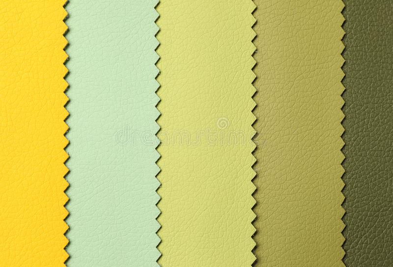Leather samples of different colors for interior design stock photo