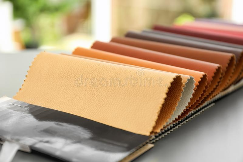 Leather samples of different colors for interior design royalty free stock photo