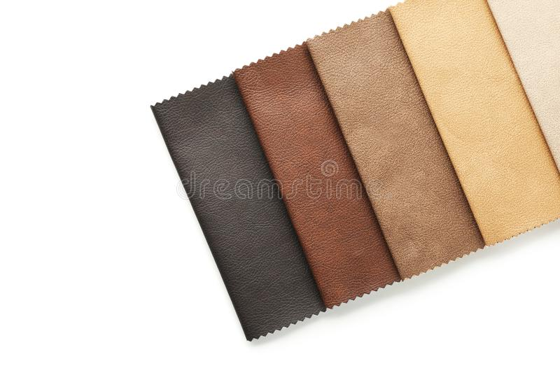 Leather samples of different colors for interior design stock images