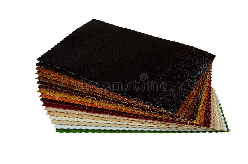 Leather samples. Leather multicolor with multiple samples royalty free stock photos
