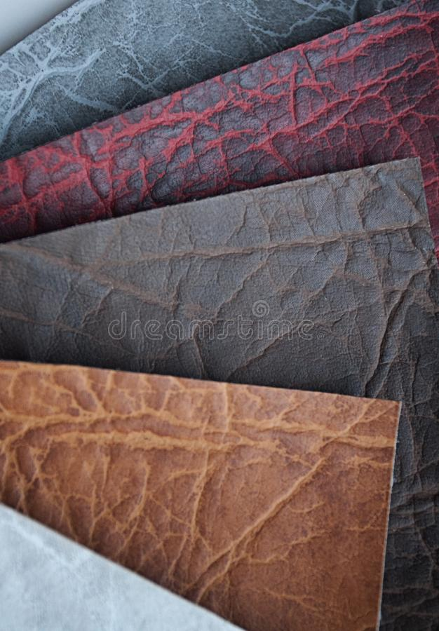 Leather samples. A stack of swatches of leather material stock images