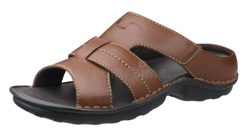 Download Brown Leather Sandal Isolated On White Stock Image - Image: 19992417