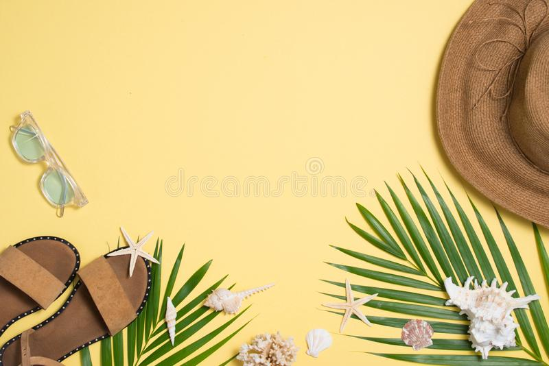 Leather sandals, tropical palm leaves, seashells, starfish on white background. Summer backdrop royalty free stock photography