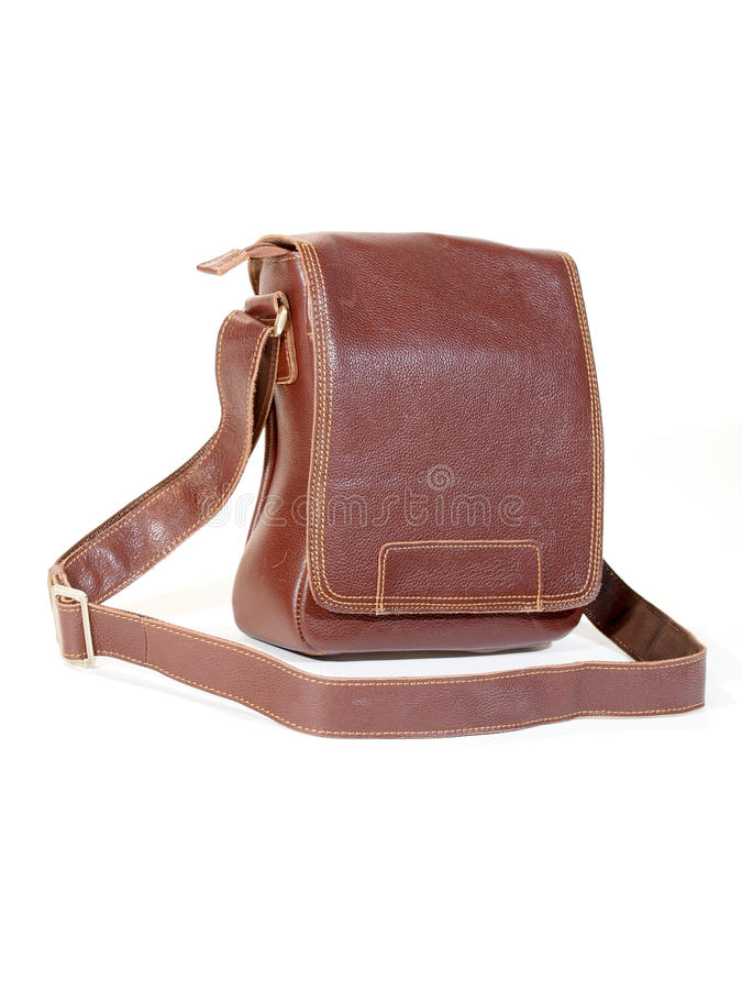 Leather Satchel. A rugged brown leather man's satchel. An essential accessory for the urban hipster royalty free stock photography