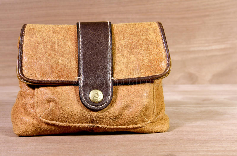 Leather satchel carry bag stock photography