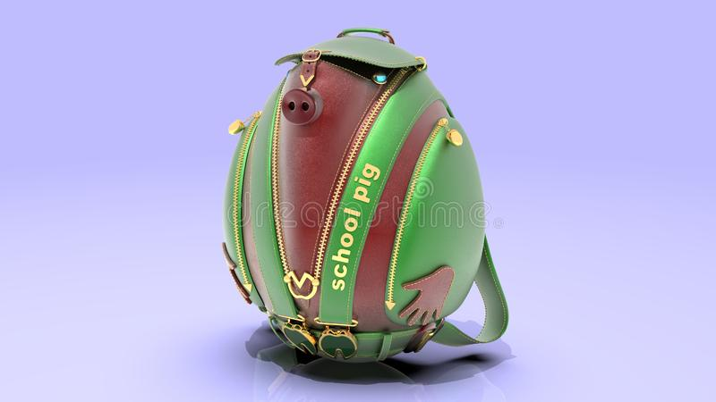 Leather school backpack in the form of a pig stock image