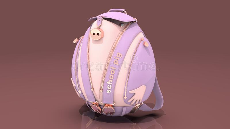 Leather school backpack in the form of a pig stock images