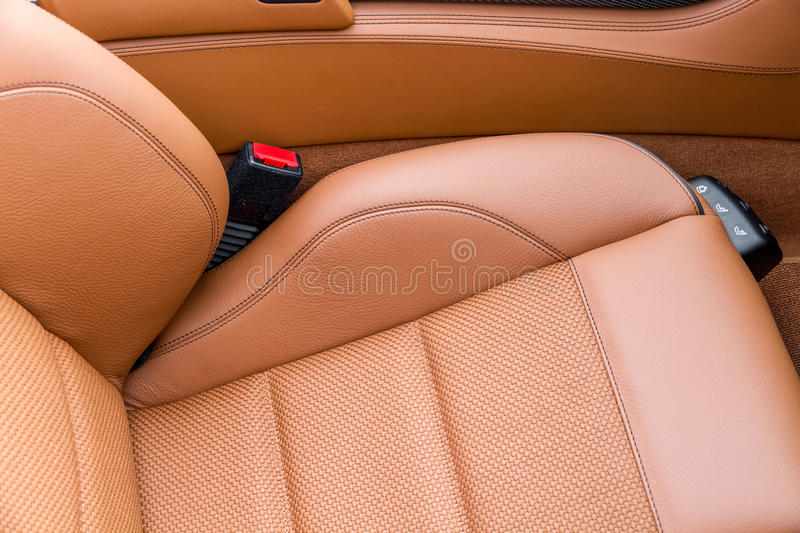 Leather Seat in Car. A Brown leather seat in a car royalty free stock images