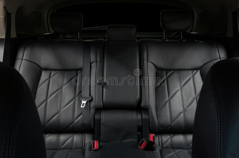Leather seats in modern car. Interior detail background. royalty free stock photos