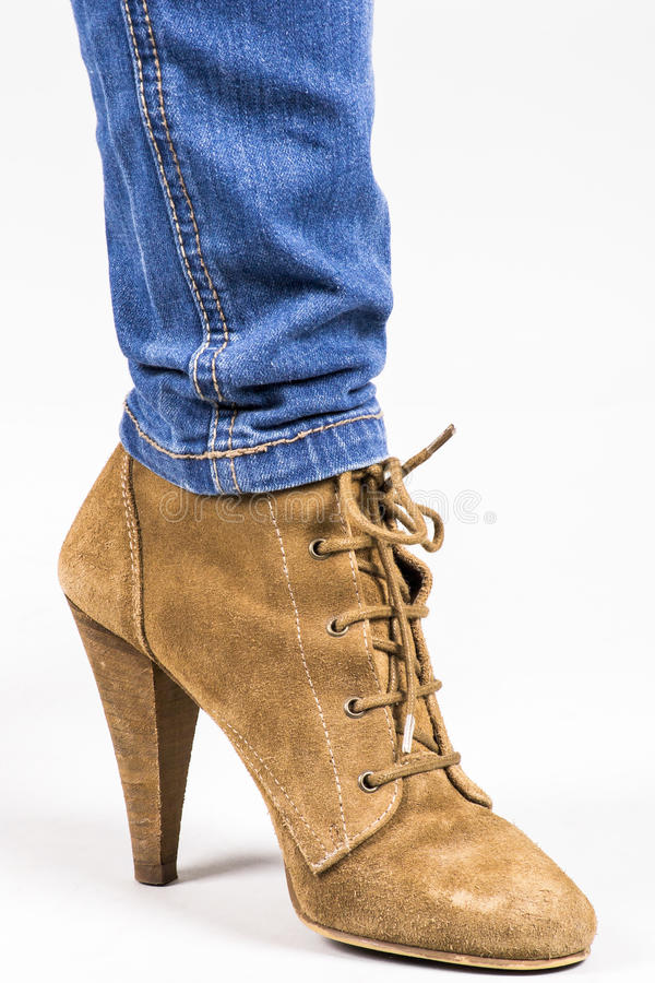 Download Leather Shoes stock photo. Image of denim, everyday, boot - 24892700