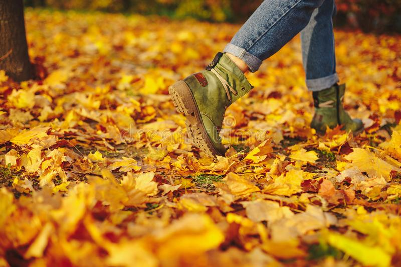 Leather shoes walking on fall leaves Outdoor royalty free stock image