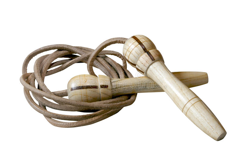 Leather skipping rope. With wood handles isolated on white background stock photo