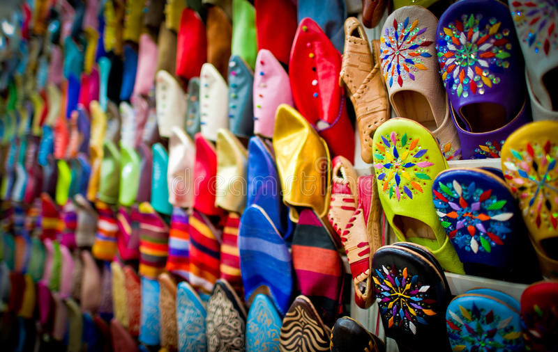 Leather slippers, marrakech, morocco. Hundreds of leather slippers in the souks of marrakech, morocco royalty free stock photos