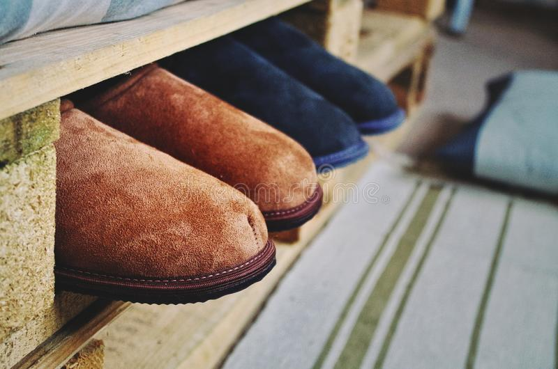 Leather slippers stock images