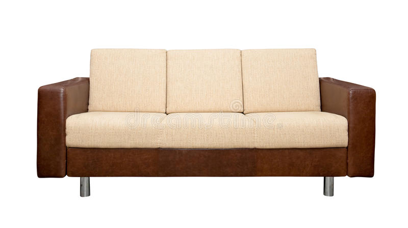 Leather sofa with fabric upholstery royalty free stock images