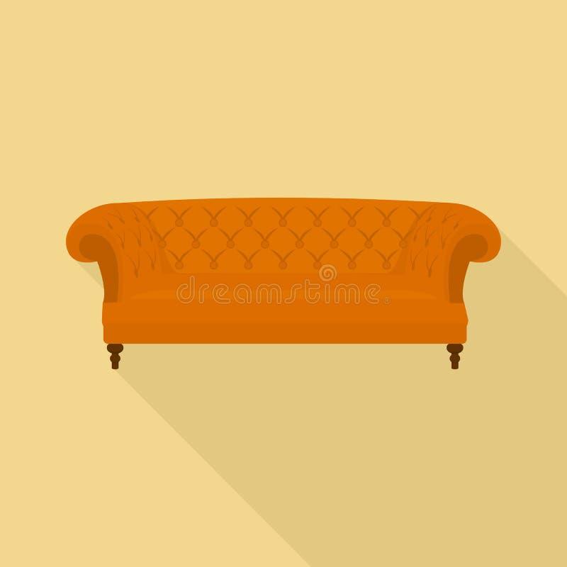 Leather sofa icon, flat style. Leather sofa icon. Flat illustration of leather sofa vector icon for web design vector illustration