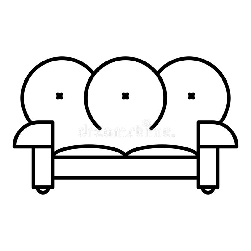 Leather sofa icon, outline style. Leather sofa icon. Outline leather sofa vector icon for web design isolated on white background vector illustration