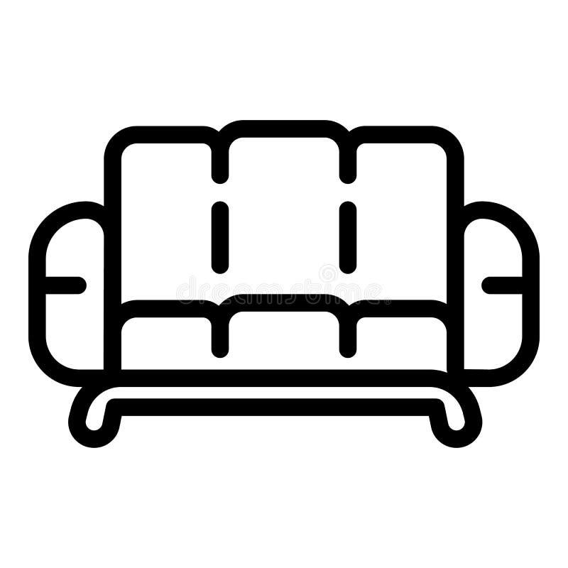 Leather sofa icon, outline style. Leather sofa icon. Outline leather sofa vector icon for web design isolated on white background stock illustration