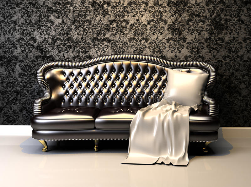 Leather sofa in interior with decoration wallpaper royalty free illustration