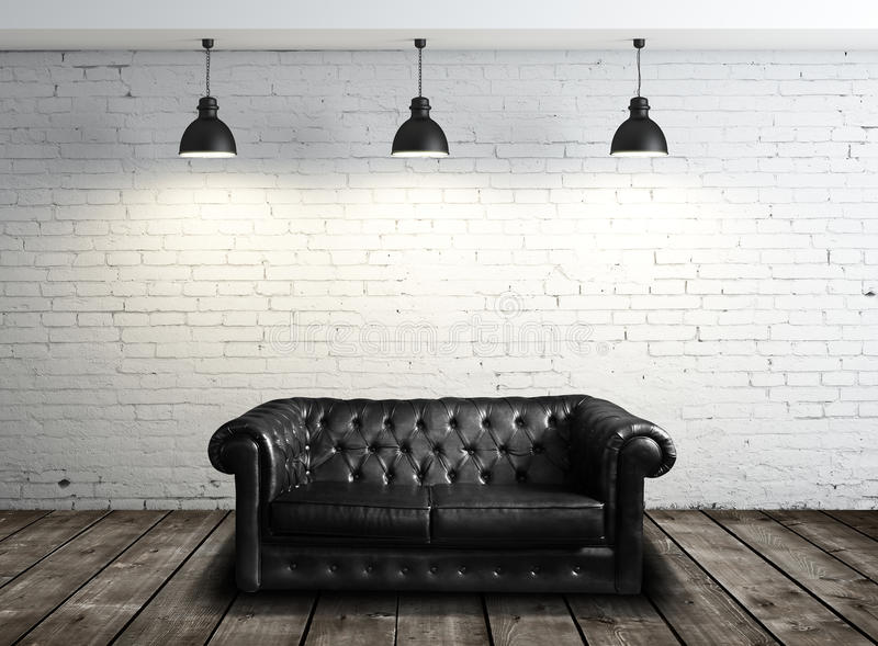 Leather sofa in room stock photos