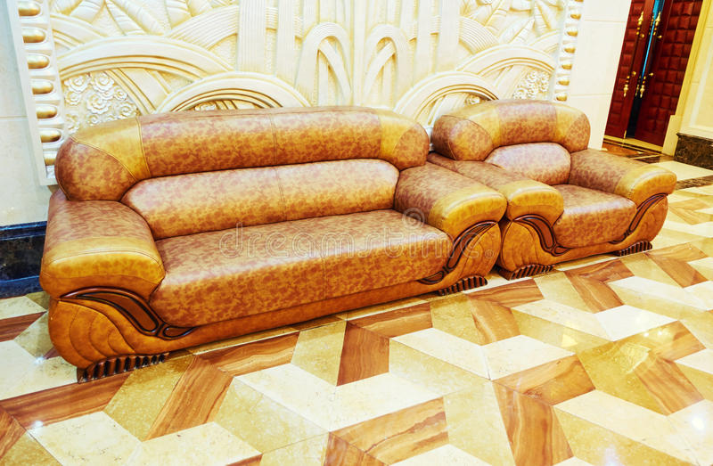 Leather sofa and couch. In living room royalty free stock photos