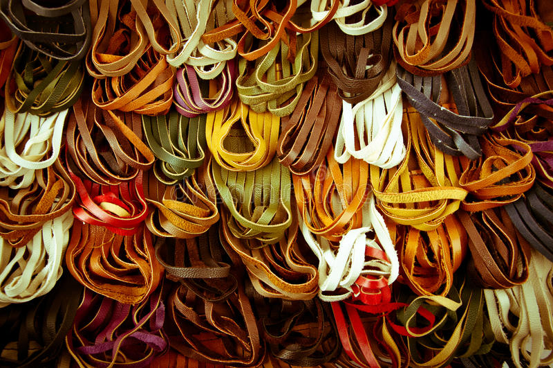 Leather spaghetti stock image