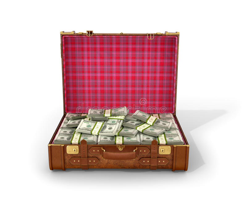 Leather suitcase with bundles of dollar bills stock illustration