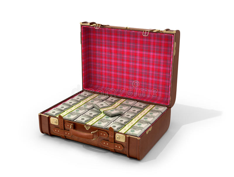 Leather suitcase with money on a white background. 3D illustration vector illustration